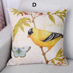 Bird throw pillow decorative home couch cushions linen