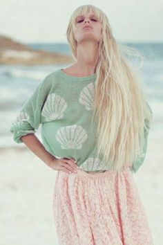 Wildfox Couture Shell Baby Roadie Sweater in Baby Green | #Chic Only #Glamour Always