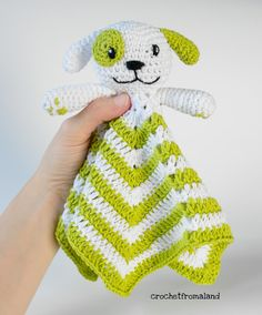 Puppy Lovey – Crochet From Åland - Diy Crafts Crochet Lovey Free Pattern, Crochet Bunny, Crochet Blanket Patterns, Baby Knitting Patterns, Baby Blanket Crochet, Crochet Gifts, Crochet Toys, Stitch Crochet, Lovey Blanket