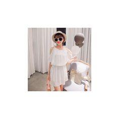 Short-Sleeve Chiffon Dress ($32) ❤ liked on Polyvore