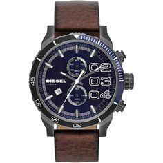 Diesel Franchise Double Down DZ4312, Diesel Donkerbruin en blauwe chronograaf met datum voor heren