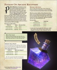 Potion of Arcane Recovery Anime Weapons, Fantasy Weapons, Fantasy Rpg, Dungeons And Dragons Homebrew, D&d Dungeons And Dragons, Dnd World Map, Dungeon Master's Guide, Dnd 5e Homebrew, Dragon Rpg