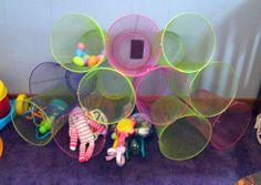 Wire wastepaper baskets + zip ties = toy storage