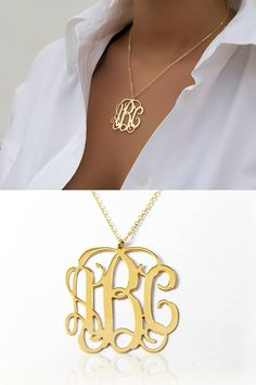 Monogram name pendant jewlery bling and jewel lowest price on etsy 125 inch personalized monogram necklace 18k gold plated mozeypictures Choice Image