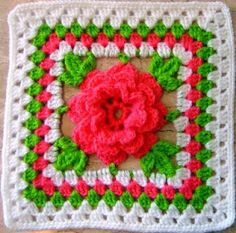 Crochet Granny Flower Chart  (That's the Irish Rose pictured here, BDMcD)