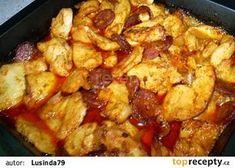 Rychlý kuřecí pekáček recept (pikantní klobása,cibule,hořčice,víno nebo pivo,protlak rajče nebo kečup)