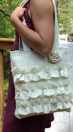 Burlap Purse Brides Bag Ruffled Tote by theruffleddaisy on Etsy, $47.00