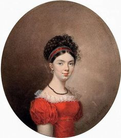 Vernet, Portrait of Countess Maria Ivanovna de Traversay, 1819 - the curls and red ribbon Jane Austen, Regency Dress, Regency Era, Miniature Portraits, Marquise, Empire Style, Historical Costume, Woman Painting, Fashion Plates
