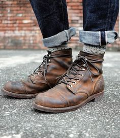 Denim Boots, Cuffed Jeans, Jeans And Boots, Red Wing Iron Ranger, Red Wing Boots, Rugged Men, Mens Boots Fashion, Redwing Boots Iron Ranger, Iron Rangers