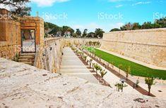Mdina walls at the fortified old city, Malta.
