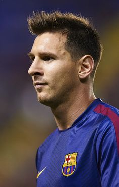 Lionel Messi of Barcelona looks on prior to the La Liga match between Levante UD and FC Barcelona at Ciutat de Valencia on September 21, 2014 in Valencia, Spain.