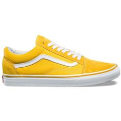 Vans Old Skool ($60) ❤ liked on Polyvore featuring men's fashion, men's shoes, men's sneakers, yellow, mens skate shoes, vans mens shoes, mens cap toe shoes, mens yellow shoes and mens lace up shoes