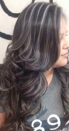 67 Ideas for hair grey highlights dark Brown Hair With Silver Highlights, Light Brown Hair, Dark Brown, Balayage Highlights, Balayage Hair, Beige Highlights, Platinum Highlights, Gray Hair Growing Out, Transition To Gray Hair