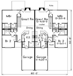 Duplex house plans full floor plan 2 bed 2 bath on the for Stacked duplex floor plans