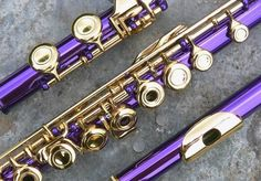 Someone made their flute purple and gold. I would love a pink and gold flute but mine right now is just silver Purple Love, All Things Purple, Purple Rain, Shades Of Purple, Deep Purple, Pink, Band Nerd, Laura Lee, Lila Gold