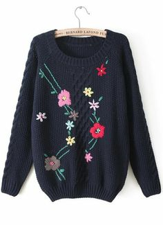 Navy Long Sleeve Embroidered Cable Knit Sweater EUR€24.29