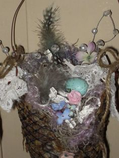 Shabby Chic Spring Birds Nest Book Page Wire Mesh by Fannypippin,