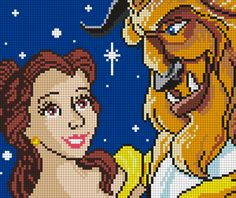 Beauty And The Beast (Square) Perler Bead Pattern / Bead Sprite
