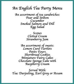 Image detail for -Tea Party Menu