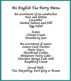 Image detail for -Tea Party Menu