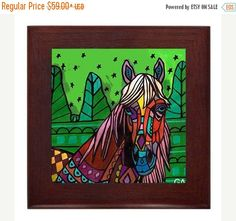 50% Off Today- Framed Horse Art Ceramic Tile by Heather Galler - Ready To Hang Tile Frame Folk Art Gift