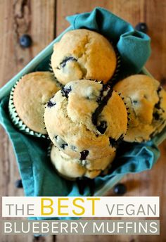 The BEST vegan blueberry muffins. Unbelievable fluffy and filled with fresh blueberries, you won't be able to get enough of these simple sweet muffins. #vegan #veganrecipes #blueberries #veganmuffins