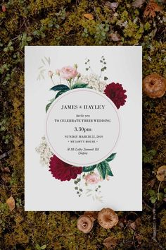Stunning pink and burgundy floral Wedding Invitation by Sail and Swan Studio. The design features  pink roses, burgundy red dahlia flowers, green leaves, clover and greenery. The florals and botanical elements are set behind a grey circle shape. Botanical Wedding Theme, Botanical Wedding Invitations, Floral Invitation, Dahlia Flowers, Pink Roses, Wedding Ceremony, Our Wedding, Burgundy Wedding Invitations, Circle Shape