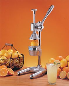 Firstly, I myself would love one of these manual citrus juicers.  It'd be cool to paint it a cool color and display it in your kitchen.  Also, I think it would be a really sweet gift for Mother's Day or Father's Day or a wedding to give this with an orange tree.  #oranges #juice $208.99