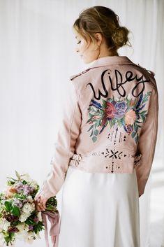 Pretty Mauve & Lilac Wedding Inspiration (With A Pink Leather Bridal Jacket! Lilac Wedding, Wedding Jacket, Bridal Musings, Pink Jacket, Wedding Trends, Wedding Ideas, Groom Style, Pink Leather, Wedding Dresses