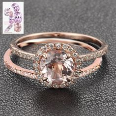 Round Morganite Ring & Matching Band - Pave Diamond Halo Engagement Ring Claw Prongs in 14 in the Engagement Rings category was listed for on 3 Mar at by JEWELSetc in Pretoria / Tshwane Engagement Wedding Ring Sets, Halo Diamond Engagement Ring, Engagement Ring Settings, Diamond Rings, Solitaire Rings, Solitaire Diamond, Gold Rings, Ruby Rings, Cool Wedding Rings