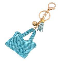 """Mode Petit Porte-clés En Cuir et Strass Style """" #Sac pour femmes""""Couleur #bleu. Anneau en Acier Style Plaque Or 18K"""