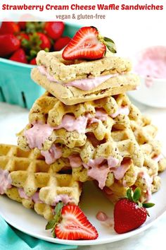 Strawberry Cream Cheese Waffle Sandwiches (vegan and gluten-free) are perfect for breakfasts on the go or leisurely weekend brunches. #vegan #glutenfree #breakfast #brunch #waffles #wafflesandwiches #strawberrycreamcheese #dairyfree
