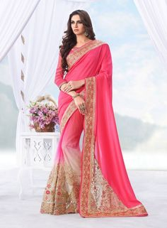 Hot Pink designer party wear Indian saree with blouse E15157