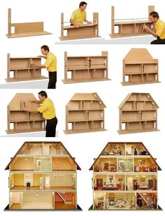 Bau der Villa Tara Alle Teile sind perfekt aufeinander abgestimmt und w… Construction of the Villa Tara All … Modern Dollhouse, Diy Dollhouse, Dollhouse Design, Victorian Dollhouse, Barbie Furniture, Dollhouse Furniture, Furniture Plans, Miniature Houses, Miniature Dolls