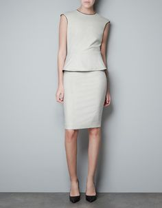PEPLUM DRESS WITH FAUX LEATHER PIPING - Woman - New this week - ZARA United States