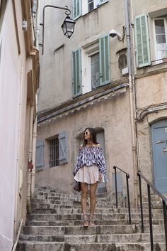 Off The Shoulder Top in Cannes | Song of Style