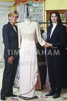April 23, 1997: Diana, Princess of Wales with designer, Catherine Walker in Kensington Palace.