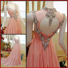 Embellished pink gown with silver beading - Long Prom Dresses Pink Prom Dress - beaded peach peachy pink coral low back v neck v-neck