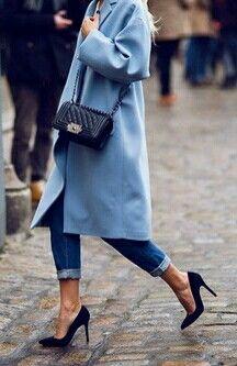 Long blue coat with heels
