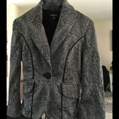 BEAUTIFUL Bebe Blazer Excellent condition - Gun metal and black Bebe blazer. Buttons on the cuffs. 65% Acetate, 31% Nylon and 4% Spandex bebe Jackets & Coats Blazers