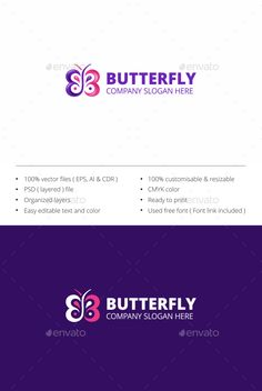 Butterfly logo  #vector #colorful • Click here to download ! http://graphicriver.net/item/butterfly-logo/15087079?ref=pxcr