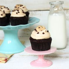 Cupcakes with cookie dough filling, frosting and garnish. Triple cookie dough heaven!