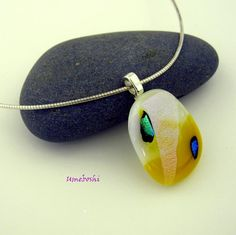 Lemon Meringue Dichroic Fused Glass Pendant with Bright Teal Accents | Umeboshi - Jewelry on ArtFire