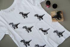 DIY; Shirt stempelen // stamp tshirt //dinosaur shirt