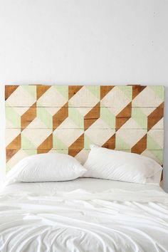 Oh My Wood! Geo Headboard - what do you think of something like this...we could do it ourselves instead of paying $700 at Urban Outfitters :)