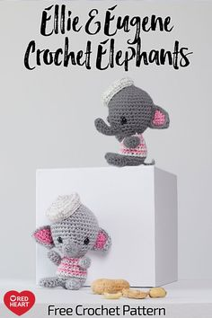 Ellie and Eugene Crochet Elephants free crochet pattern Amigurumi yarn. Ellie and Eugene can't wait to make new friends! They love meeting new people and sharing snacks (they really enjoy peanuts, of course! Crochet Elephant Pattern, Crochet Animal Patterns, Stuffed Animal Patterns, Crochet Patterns Amigurumi, Crochet Animals, Crochet Dolls, Quick Crochet, Crochet Baby, Free Crochet