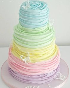 Are you getting started to prepare a spring wedding? Consider about a pastel wedding! Featuring soft blues, pinks, and different shades of canary and lilac, pastel-themed. Pretty Cakes, Cute Cakes, Beautiful Cakes, Amazing Cakes, Stunningly Beautiful, Bolo Cake, Birthday Cake Girls, Teen Birthday, Tiered Birthday Cakes