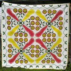 circa 1850 Oak Reel & Princess Feather quilt, made by Agnes Magill Cummins, PA