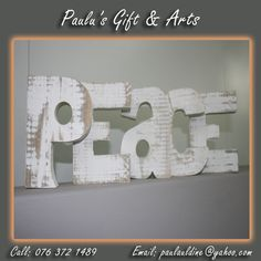 This peace wooden words is available in the store. call us on: 076 372 1489 Wooden Words, Coffee Crafts, Arts And Crafts, Peace, Store, Gifts, Decor, Presents, Dekoration
