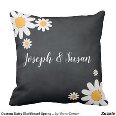 Custom Daisy Blackboard Spring Season Event Throw Pillow